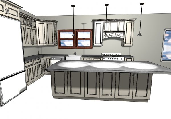 D plans for White Kitchen Cabinets and granite countertop by Upgrade Cabinets